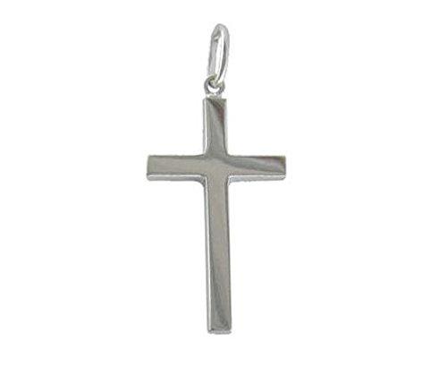 9ct or blanc Croix creuse