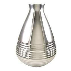 Metallic Silver 10H x 7W x 7D Realspace Granby Ceramic Desktop Vase