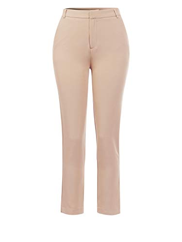 Design by Olivia Women's Classic Straight Slim Solid Trousers Casual Business Office Pants Khaki M