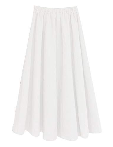 Soojun Women's Solid Cotton Linen Retro Vintage A-line Long Flowy Skirts, White, Medium Petite ()