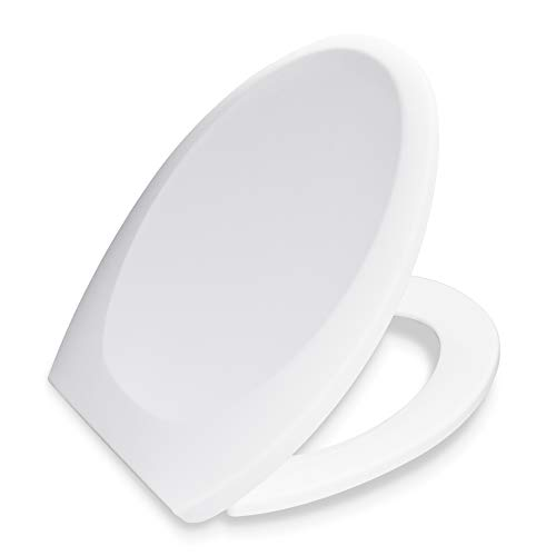 Bath Royale BR606-00 Premium Elongated Toilet Seat with Cover, White, Slow-Close, Quick-Release for Easy Cleaning. Fits All Elongated (Oval) Toilets