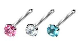 Pink Gem Nose Bone - 3 pc lot Nose Bone Prong set gem Pink, Clear cz, Aqua Surgical Steel piercing rings 18g 18 gauge