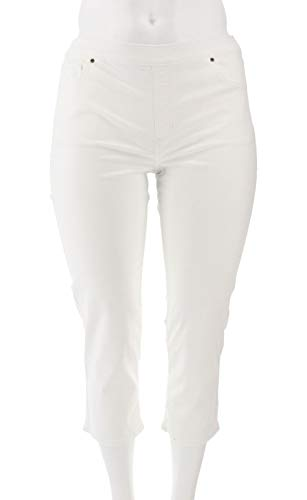 Crop Twill Pants Stretch - Susan Graver Stretch Twill Pull-on Crop Pants White 12 New A301163