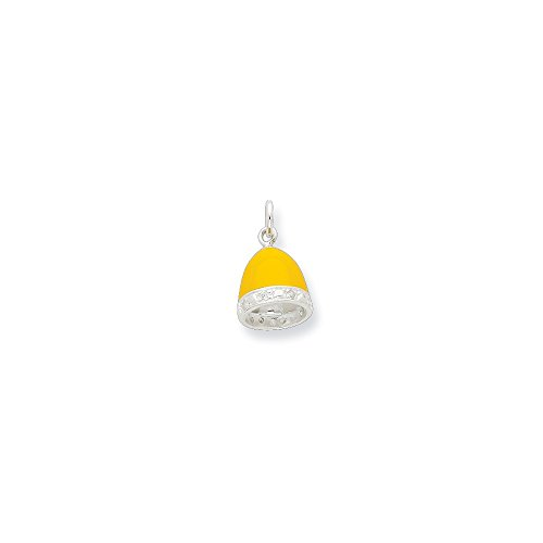 Sterling Silver Synthetic CZ Yellow Enameled Polished Bell Charm