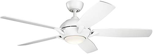 Kichler Lighting 330001MWH Geno-54 Ceiling Fan with Light Kit, Blade Finish, 54 inches, Matte White