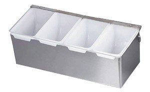 TrueCraftware - 4 Compartment Stainless Steel Condiment Dispenser in Satin Finish and with Plastic Inserts and