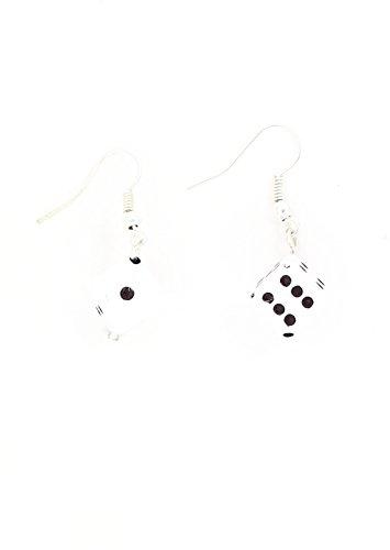 Dice Dangle Earrings White Cube Silver Tone Charm EG63 Fashion Jewelry