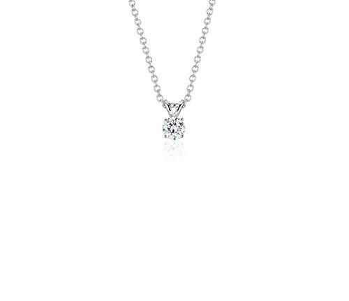 AGS Certified 1/3 Carat Brilliant-Cut Diamond 14K White Gold Bezel-Set Necklace, 16 + 2 Extender (L-M Color, I1-I2 Clarity)