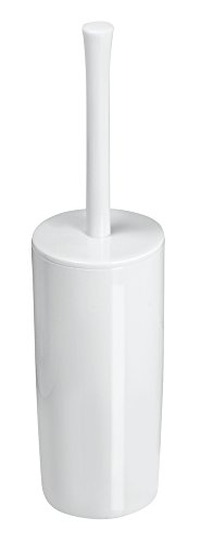 Plastic Toilet Bowl Brush and Holder for Bathroom Storage - Sturdy, Deep Cleaning - White ()