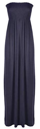 Purple Hanger Women's Boob Tube Bandeau Strapless Maxi Dress Dark Grey 4-6