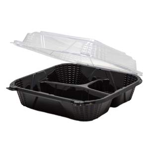 Large 3 Compartment, Black Base, Clear lid, hinged to-go Container, Microwave Safe, BPA Free. 150 Pieces per case.