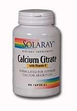 Solaray citrate de calcium avec vitamine D-3 capsules, 1000 mg, 180 comte