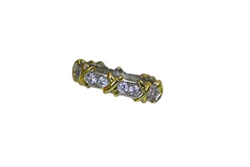 Alpha Jewelry Eternity Cubic Zirconia Platinum & Yellow Gold Plated Wedding Band Ring. Italian CZ Ring ()