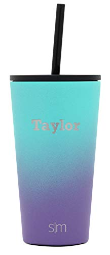 Simple Modern Personalized Gift Tumbler Custom, Classic 16oz - Straw & Flip Lid, Ombre: Tropical Seas