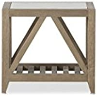Flamant Carpenter Glass Side Table, Weathered Natural Oak