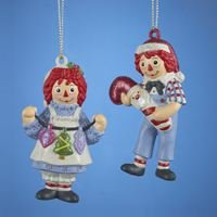 Kurt Adler Raggedy Ann And Andy Blow Mold Ornament Set OF 3 Pieces]()