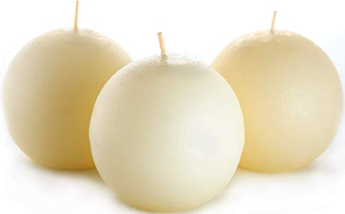 Set of 3 Ivory Sphere Ball Candles 3