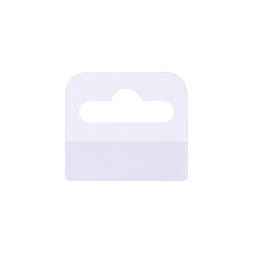 Warmsky 100pcs 2 x 1.75Inch Clear Plastic Slot Hole Adhesive Custom Hang Tabs Display Tags Hook for Store Retail Display