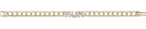 Or 9ct Pierre de moucheté Chaîne gourmette bracelet Mum 19,1cm