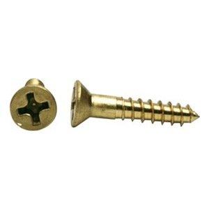 """UPC 094717836946, DrillSpot #7-16 x 1-1/4"""" Phillips Flat Head Wood Screw, Brass, Pack of 1000"""
