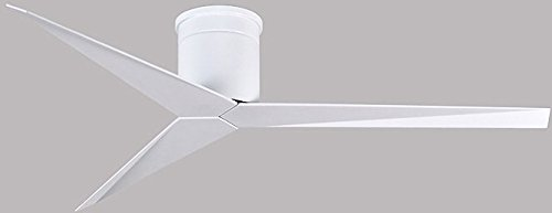 "Matthews EKH-WH-WH, Eliza Gloss White 56"" Flush Mount Ceiling Fan with White Blades, Remote"