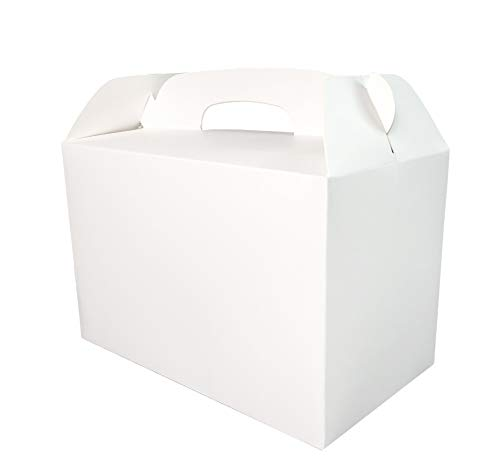 Monka White Treat Boxes 1 Dozen White Boxes for Favor 8.5X5X5.5 Inches Large Handle Favor Boxes, Kids Party Favor Box, Party Box, Birthday Goodies Box, No Assembly Needed ()