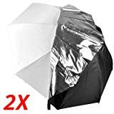 CowboyStudio 2X 43in White Satin Umbrella with Reflective Silver Backing and Removable Black Cover