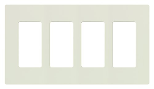Lutron CW-4-LA Claro 4-Gang Wallplate, Light Almond (Almond Light Gang)