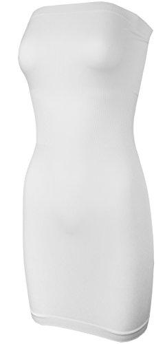 (KMystic Seamless Strapless Tube Slip Dress (White),One Size)