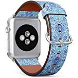 Chic Paisley ((Boho Chic Paisley Pattern with Mandala Design Element on Elegant Oriental Background) Patterned Leather Wristband Strap for Apple Watch Series 4/3/2/1 gen,Replacement for iWatch 42mm / 44mm Bands)