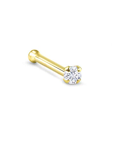 14k Yellow Gold Nose Bone 7mm Post 2mm Round CZ 18G ()