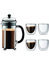 Bodum Chambord French Press Coffee Maker, 34 Ounce, 1 Liter, Chrome Plus 4 Pavina Double Wall Clear Glasses 2.5 oz, Set Bodum Chrome Coffee Maker