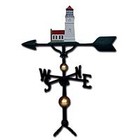 Montague Metal Products 32-Inch Deluxe Weathervane with Satin Black Cottage Lighthouse Ornament ()