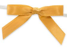 6ct. Pre-Tied Gold 2'' Satin Gift Bows Wire Ties Ready-to-Use 3/8'' Ribbon by shanna-bananapeels