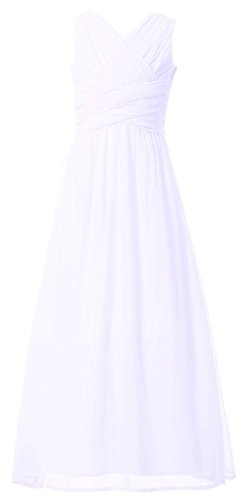 (Happy Rose Flower Girl's Dress Party Dresses Juniors Long Bridesmaid Dress White)