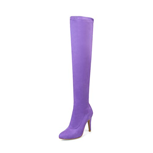 T-JULY Women's Autumn Winter Stretch Flock Thigh High Boots High Heels Over The Knee Boots Plus Size 34-48 Purple