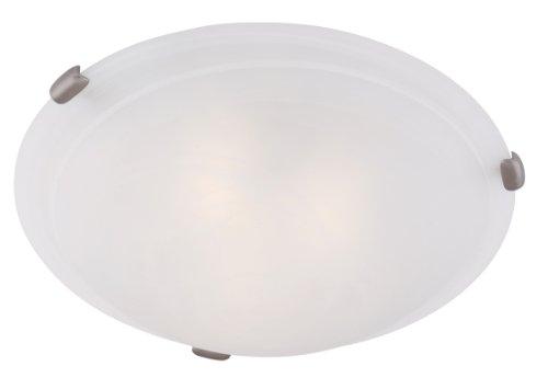 Livex Bronze Flush Mount Light Fixture - Livex Lighting 8013-91 Coronado 4 Light Brushed Nickel Flush Mount with White Alabaster Glass