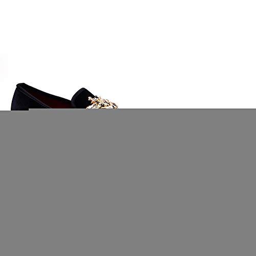 Men Genuine Leather Mens Metallic Textured Slip-on Glitter Loafers Shoes (11 M US, BLACK-01)