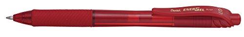 Pentel EnerGel-X Retractable Liquid Gel Pen (0.7mm) Metal Tip, Red Ink, Box of 12 (BL107-B) (Pentel Red Retractable Pen)