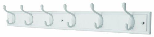Headbourne Azhr4093 Garderobenleiste mit 6 weißen Haken an einem weißen Holzbrett