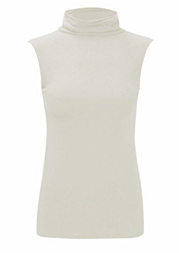 Crème Unique shirt Taille Uni T Femme 21fashion Manche Sans Noir 81zcqwf