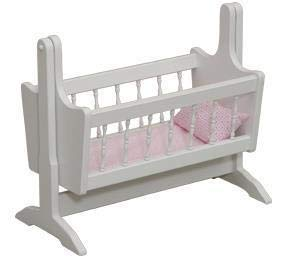 Eco-Friendly American Made Wooden Swinging Doll Cradle (Unfinished, Bedding - Turquoise)