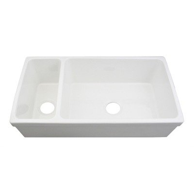 (Farmhaus Fireclay Large Quatro Alcove Fireclay Bowl and a Half Kitchen Sink Finish: Sapphire Blue)