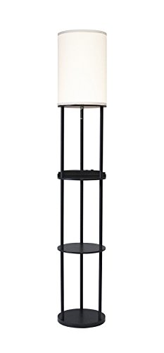 Adesso Shelf (Adesso 3116-01 USB & AC Charging Station Floor Lamp - Night Lamp with 2 Storage Shelves and Device Holders. Home Decor and Lighting)