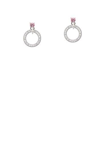 John 3:16 Eternity Ring Light Pink Crystal Post Earrings