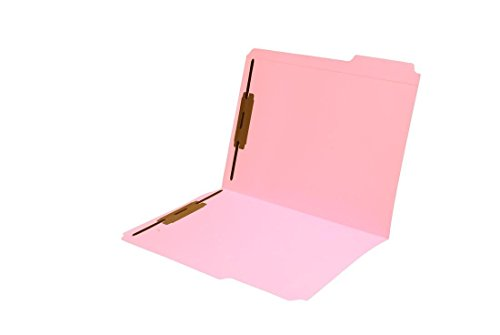 11 pt Pink Folders, 1/3 Cut Top Tab - Assorted, Letter Size, Fastener Pos #1 and #3 (Box of 50)