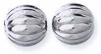 Nickel Round Beads (Shipwreck Beads Nickel Metal Fluted Round Bead, 8mm, Metallic, Silver, 50-Piece)