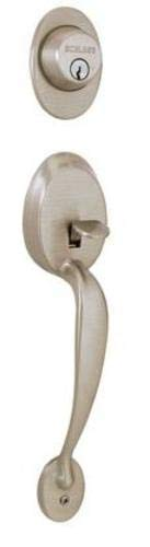 Schlage F62PLY619GEO Satin Nickel Plymouth Double Cylinder Handleset with Georgian Interior Knob from The ()