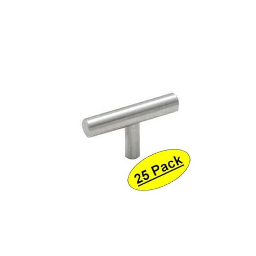 "Cosmas 305SN Satin Nickel Cabinet Hardware Euro Style T Bar Knob - 2"" Overall Length, 25 Pack"
