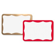 Business Source Name Badge Label - 3.5amp;quot; Width x 2.25amp;quot; Length - 100 / Pack - White, Red